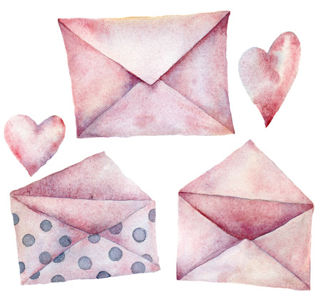 Watercolor envelopes set. Hand painted pink with polka dot envelopes isolated on white background. Vintage mail icon. Design elements for print, background.