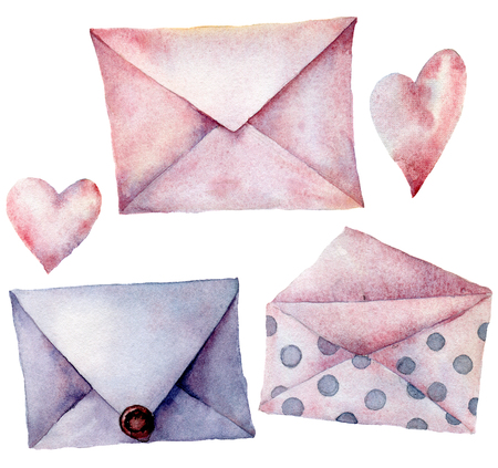 Watercolor envelopes with hearts set. Hand painted violet, pink pink and polka dot envelopes isolated on white background. Vintage mail icon. Design elements for print, background.