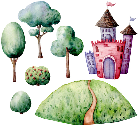 Watercolor fairy tale constructor set. Hand painted green trees and bushes, castle isolated on white background. Forest illustration for design, print. Foto de archivo - 109362814