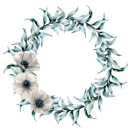 Watercolor wreath with eucalyptus leaves and anemone. Hand painted floral wreath with branches and white flowers isolated on white background. Illustration for design, print or background.