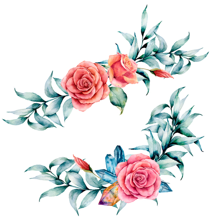 Watercolor asymmetric bouquet with rose and eucalyptus. Hand painted red flowers, eucalyptus leaves and branch isolated on white background. Illustration for design, print or background. Stock Photo