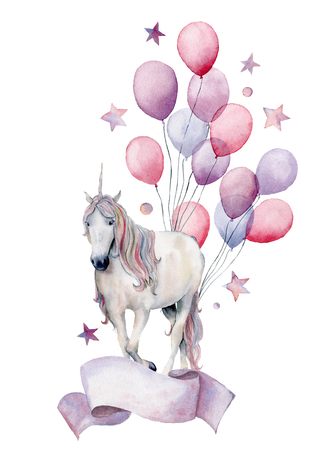 Watercolor fantasy label with unicorn and air ballons. Hand painted white horse, air balloons, stars isolated on white background. Pastel decor collection. Holiday illustrations.