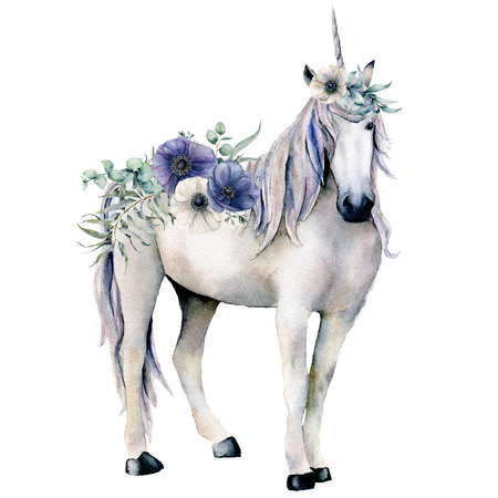 Watercolor elegant white unicorn with anemone flowers bouquet. Hand painted magic horse, white and blue anemone isolated on white background. Fairytale character illustration for design, print.