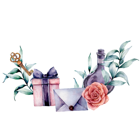Watercolor birthday decor card with envelope, gift box and rose bouquet. Hand painted eucalyptus leaves, bottle, key isolated on white background. Holiday illustrations. Stock Photo