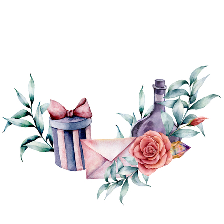 Watercolor birthday decor card with envelope, rose bouquet and gift box. Hand painted eucalyptus leaves, bottle, crystal isolated on white background. Holiday illustrations.