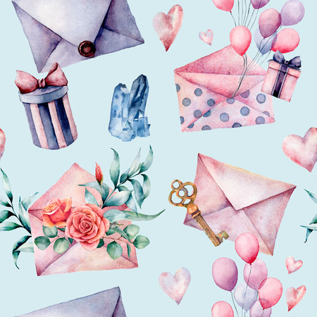 Watercolor birthday decor seamless pattern with envelope and gift box. Hand painted air balloons, bouquet of flowers, key isolated on blue background. Pastel decor collection. Holiday illustrations.