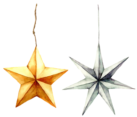 Watercolor stars decoration. Hand painted gold and silver stars isolated on white background. Christmas toys. Holiday modern decor illustration. Stock Photo