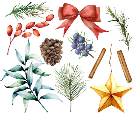 Watercolor Christmas decor set. Hand painted fir branches, eucalyptus leaves, barberry, star, fir cone, cinnamon, juniper, bow and rosemarin isolated on white background. Holiday illustrations. Stock Photo