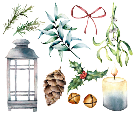 Watercolor Christmas lantern with decor. Hand painted lamp, candle, eucalyptus, mistletoe, bells, holly, fir cone and red bow isolated on white background. Holiday symbol for design, print.