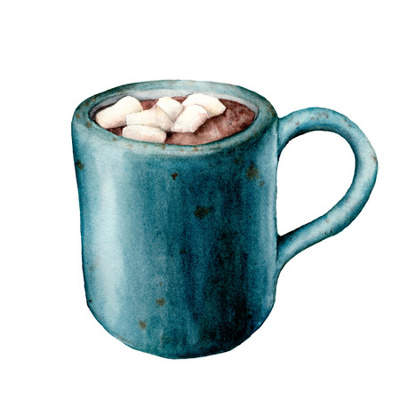 Watercolor cup of cacao with marshmallow. Hand painted mug with hot drink isolated on white background. Seasonal illustration for design, print or background. Banco de Imagens