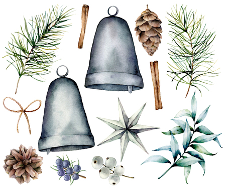 Watercolor Christmas scandinavian decor. Hand painted fir branches and cones, silver bells, star, juniper, snowberry, eucalyptus and bow isolated on white background. Holiday symbol for design, print.