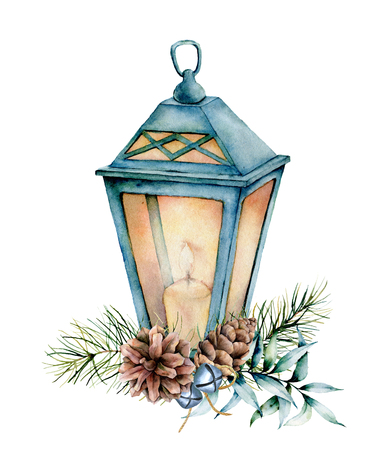 Watercolor blue Christmas lantern with decor. Hand painted lamp, candle, eucalyptus leaves and branch, silver bells, fir cone and isolated on white background. Holiday symbol for design, print. 스톡 콘텐츠