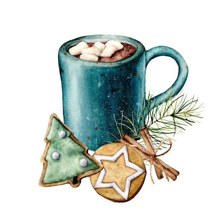 Watercolor Christmas card with cacao and pastry. Hand painted cup of cacao, marshmallow, cookies and cinnamon sticks isolated on white background. Holiday symbols. Seasonal trendy illustration. Stock Photo