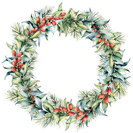 Watercolor Christmas wreath with eucalyptus and berries. Hand painted fir border with cones, barberries, eucalyptus leaves isolated on white background. Holiday floral illustration for design, print
