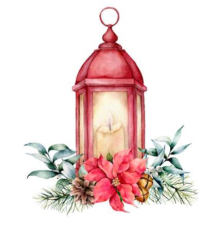 Watercolor red lantern with Christmas decor. Hand painted lamp, candle, fir branch, poinsettia, golden bells, fir cone and eucalyptus leaves isolated on white background. Holiday symbol for design