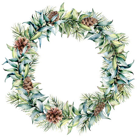 Watercolor Christmas wreath with eucalyptus and pine cones. Hand painted fir border with cones, Christmas tree, eucalyptus leaves isolated on white background. Holiday floral illustration for design