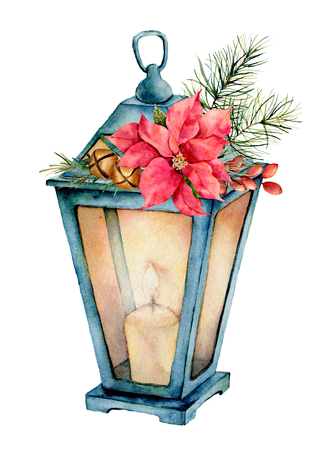 Watercolor blue lantern with Christmas  decor. Hand painted lamp, candle, fir branch, poinsettia, golden bells, fir cone and barberry isolated on white background. Holiday symbol for design, print.