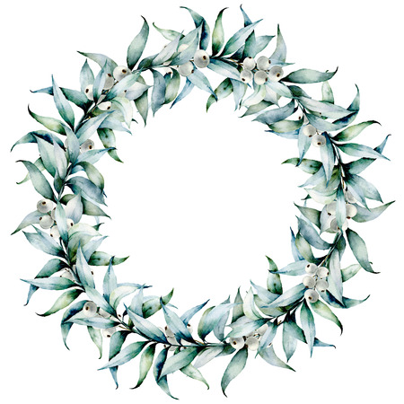 Watercolor wreath with eucalyptus leaves. Hand painted Christmas wreath with eucalyptus branch and white berries isolated on white background. Holiday floral illustration for design, print, card.