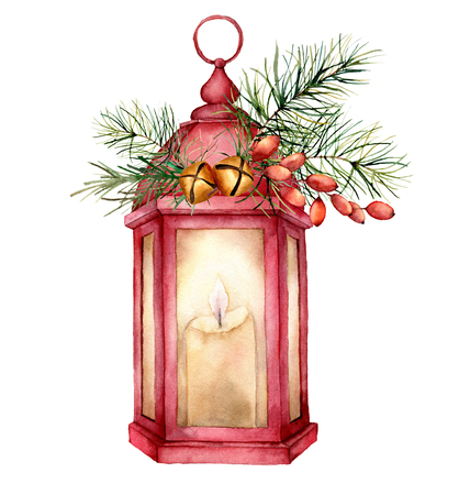 Watercolor Christmas red lantern with decor. Hand painted lamp, candle, fir branch, barberry, golden bells, fir cone and isolated on white background. Holiday symbol for design, print, card.