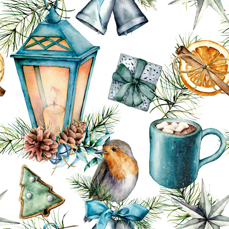 Watercolor Christmas pattern in scandinavian style. Hand painted Blue lantern, cacao cup with marshmallow, robin, pastry, silver bells and giftboxes isolated on white background. Holiday print. Stock Photo
