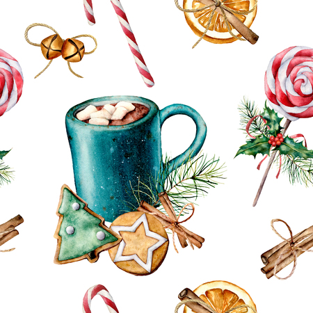 Watercolor Christmas pattern with pastry and cacao. Hand painted cookies, cinnamon, cup of cacao with marshmallow, fir branch isolated on white background. Holiday seamless pattern for print, fabric. Stock Photo