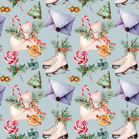 Watercolor Christmas seamless pattern with skates. Hand painted envelopes, cookies, spices with fir branches and decor isolated on blue background. Holiday seamless pattern for print, fabric.