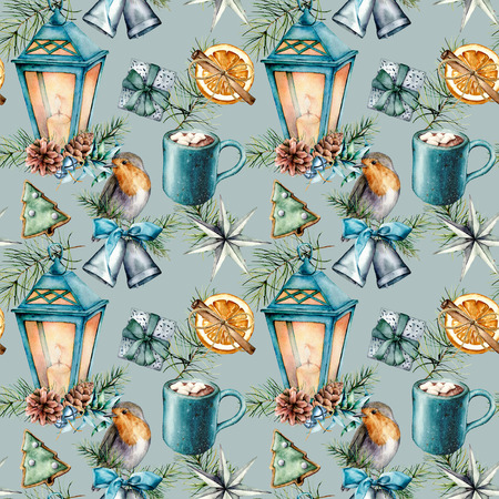 Watercolor Christmas seamless pattern in scandinavian style. Hand painted Blue lantern, cacao cup with marshmallow, robin, pastry, silver bell and giftboxes isolated on blue background. Holiday print.