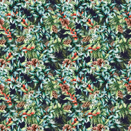 Watercolor Christmas pattern with berries and eucalyptus. Hand painted fir branches with cones, barberries, eucalyptus leaves isolated on dark blue background. Holiday floral illustration for design.