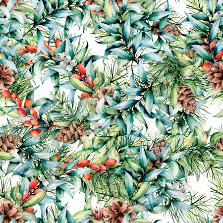 Watercolor Christmas pattern with eucalyptus and berries. Hand painted fir branches with cones, barberries, eucalyptus leaves isolated on white background. Holiday floral illustration for design Stock Photo