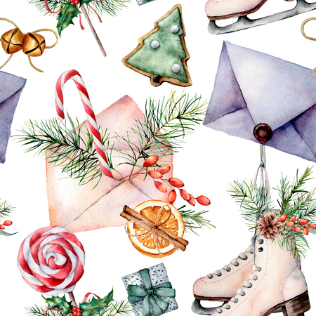 Watercolor Christmas pattern with skates. Hand painted skates, envelopes, cookies, spices with fir branches and decor elements isolated on white background. Holiday seamless pattern for print, fabric.