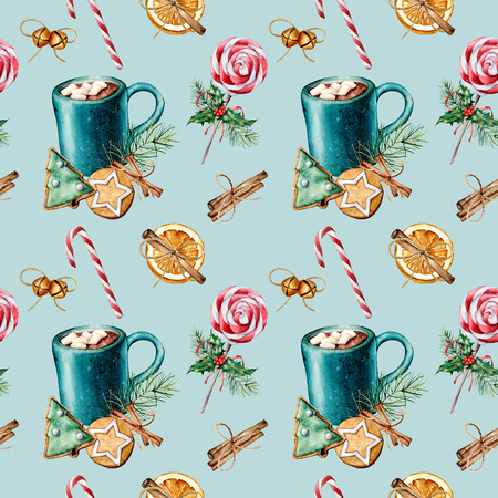 Watercolor Christmas pattern with pastry and cacao mug. Hand painted cookies, cinnamon, cup of cacao with marshmallow, fir branch isolated on blue background. Holiday seamless pattern for print. 스톡 콘텐츠