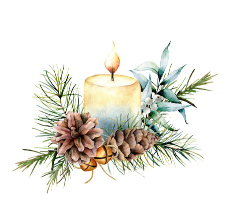 Watercolor Christmas candle with holiday decor. Hand painted floral composition with eucalyptus leaves, bells, pine cones and berries isolated on white background. Botanical illustration for design Foto de archivo - 112241351