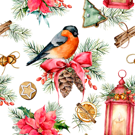 Watercolor Christmas pattern with holiday symbols. Hand painted bullfinch, lantern with candle, poinsettia, holly, mistletoe, pine cones, cookies, cinnamon, fir branch isolated on white background. Stock Photo