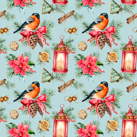 Watercolor seamless Christmas pattern with holiday symbols. Hand painted bullfinch, lantern with candle, poinsettia, holly, mistletoe, pine cones, cookies, fir branch isolated on blue background. Stock Photo