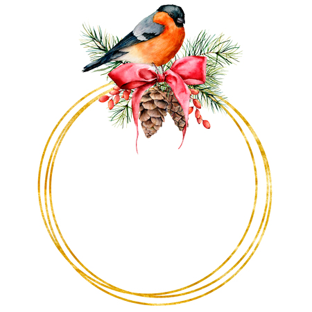 Watercolor Christmas golden wreath with bullfinch and winter design. Hand painted bird with pine cones, red bow, berries, fir branch isolated on white background. Holiday symbol for design, print.
