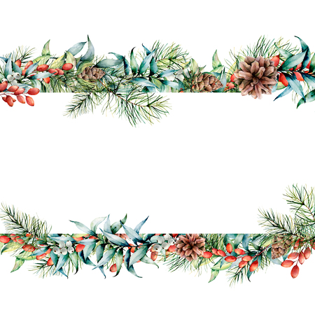 Watercolor Christmas floral banner. Hand painted floral garland with berries and fir branch, eucalyptus leaves, pine cone isolated on white background. Holiday clip art for design, print Stock Photo