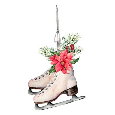 Patines vintage acuarela con decoración floral navideña. Patines blancos pintados a mano con ramas de abeto, bayas, acebo, flor de pascua y cono de abeto aislado sobre fondo blanco. Símbolo de vacaciones para el diseño.
