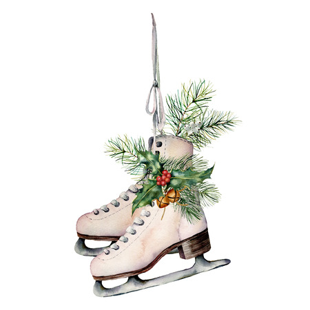 Watercolor vintage skates with winter floral decor. Hand painted white skates with fir branches, berries, holly, poinsettia and fir cone isolated on white background. Christmas symbol for design. Foto de archivo