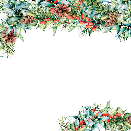 Watercolor Christmas card with floral garland. Hand painted eucalyptus and fir branches, berries and leaves, pine cones isolated on white background. Holiday card for design, print