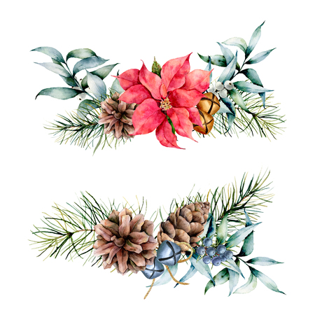 Watercolor winter floral plants on white background. Vintage style set with christmas tree branches, eucalyptus leaves, bells, holly, mistletoe, poinsettia flower. Holiday illustraton for design.