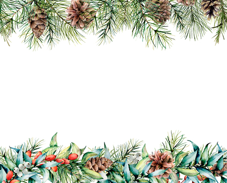 Watercolor banner with winter floral garland. Hand painted eucalyptus and fir branches, berries and leaves, pine cones isolated on white background. Christmas card for design, print