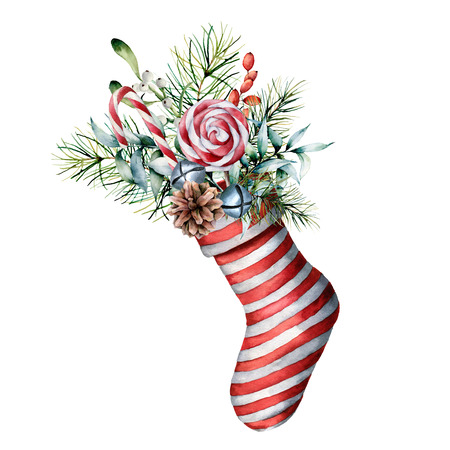 Watercolor Christmas sock with winter floral decor and candies. Hand painted holiday symbol with fir branches, cone, eucalyptus leaves, berries, mistletoe isolated on white background for design. Foto de archivo - 112241404