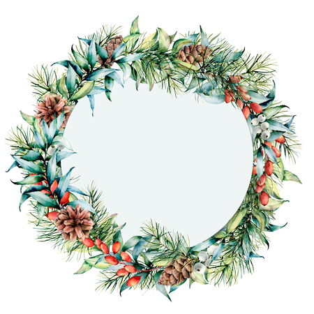 Watercolor circle floral frame with winter plants. Hand painted eucalyptus and fir branches, berries and leaves, pine cones isolated on white background. Holiday Christmas card for design, print
