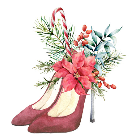 Watercolor red suede heeled shoes with Christmas floral decor. Hand painted fir branches, berries, eucalyptus leaves, poinsettia and candy cone on white background. Holiday symbol for design.