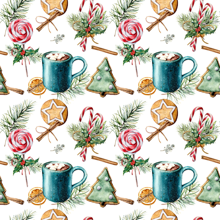 Watercolor pattern with Christmas food. Hand painted cookies, cinnamon, cup of cacao with marshmallow, candy cane, fir branch isolated on white background. Holiday seamless pattern for print, fabric.