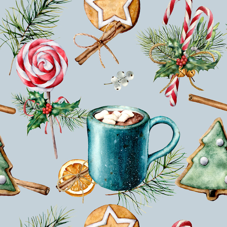 Watercolor pattern with Christmas sweets. Hand painted cookies, cinnamon, cup of cacao with marshmallow, candy cane, fir branch isolated on blue. Holiday seamless pattern for print, fabric Фото со стока