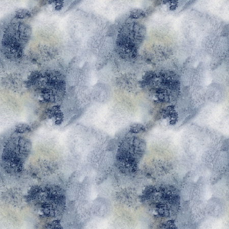 Watercolor blue winter abstract pattern. Hand painted blue, navi and yellow spots.  Holiday background for design, print, fabric Standard-Bild - 114630867