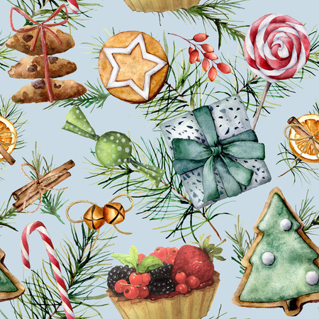 Watercolor Christmas seamless pattern with holiday pastry. Hand painted cookies, candies, cake with berries and fruits, candy cane, lollipop,  pine branch isolated on blue background.