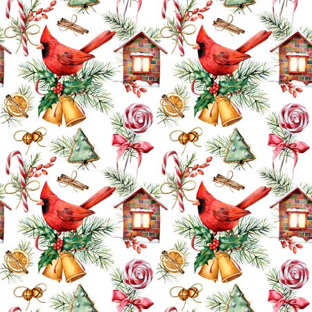 Watercolor holiday pattern with cardinal and  Christmas symbols. Hand painted red bird, bells, house, candy cane, pine branch isolated on white background.  Winter illustration for design, fabric Stock Photo