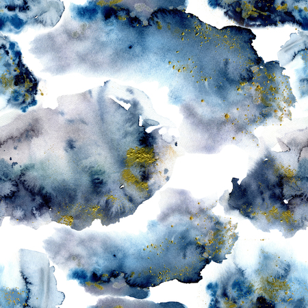 Watercolor blue winter abstract pattern with gold glitter. Hand painted blue, navi and yellow spots.  Holiday background for design, print, fabric Standard-Bild - 114630930